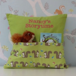 Squirrels on Green Storytime Cushion