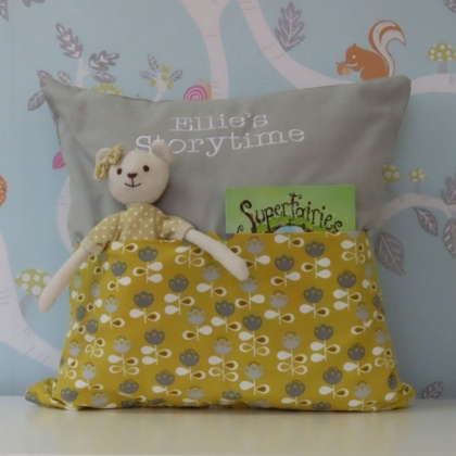Grey & Mustard Flower Storytime Cushion