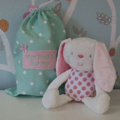 Floral Bunny  in Personalised Bag