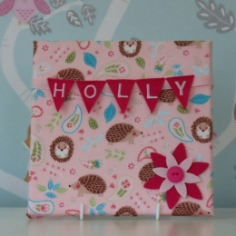 Pink Hedgehog Mini Bunting Board