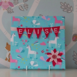 Unicorns on Teal Mini Bunting Board