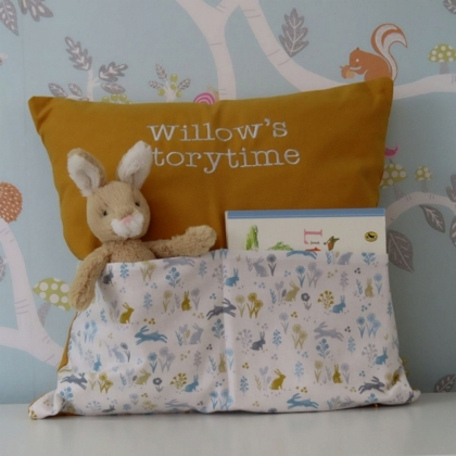 Mustard & Grey Bunny Storytime Cushion