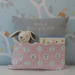 Bear & Bunny Pink/Grey Storytime Cushion