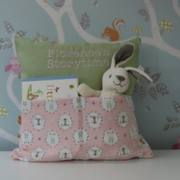 Bear & Bunny Pink/Green Storytime Cushion